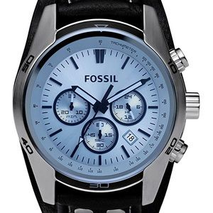 Fossil Automatic Watch w Blue Face & Black Leather
